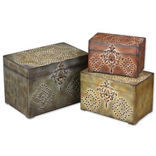 Hobnail Weathered Boxes, Set/3