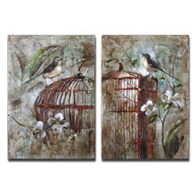 Birds In A Cage Canvas Art Set/2
