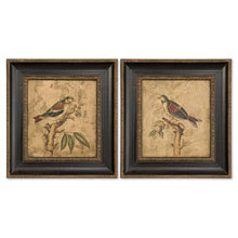 Colorful Birds On Branch Art Set/2