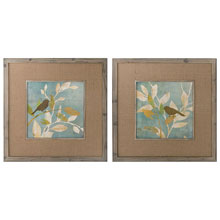 Turqouise Bird Silhouettes Framed Art, S/2