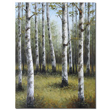 Birches In Spring Hand Painted Art