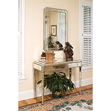 Antiqued Mirror Console Table
