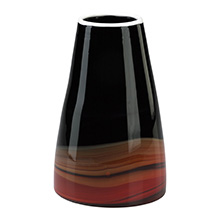 Large Black And Deep Red Swirl Vase