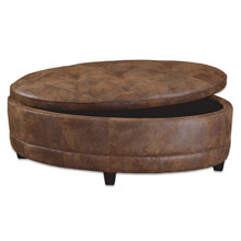 Gideon Oval Leather Storage Bench
