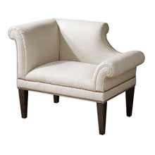 Fontaine White Linen Armchair
