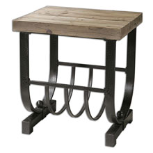 Bijan Planked Fir Top Accent Table